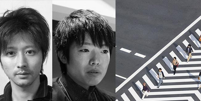 Collage tra i volti dei due designer e un particolare del progetto Crosswalk