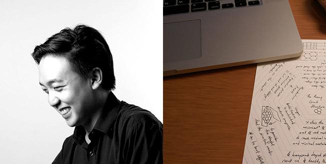 Collage di foto a sinistra Benjamin Xue designer a destra un notebook e un foglio con appunti