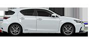 Vista laterale della compact car CT Hybrid bianca