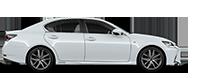 Vista laterale della berlina GS Hybrid bianca