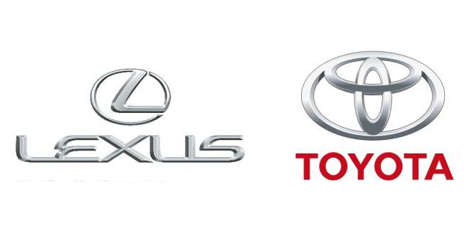 I loghi Lexus a sinistra e Toyota a destra su sfondo bianco