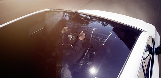 Particolare degli interni di NX Hybrid Icon visti attraverso l'ampio tetto panoramico.