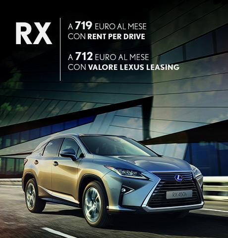 RX Hybrid in promozione con rent per drive e con valore lexus leasing
