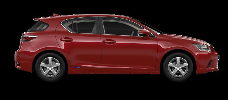 De zijkant van een Lexus CT 200h in Morello Red