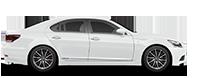 De zijkant van een witte Lexus LS 600h