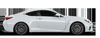 De zijkant van een witte Lexus RC 300h
