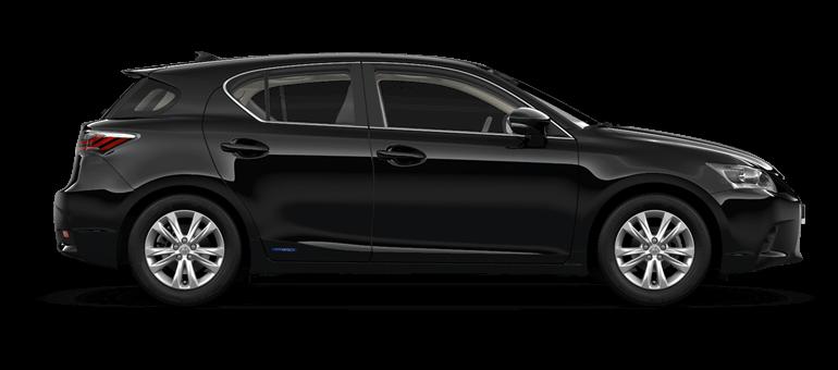 De zijkant van een Lexus CT 200h in Black