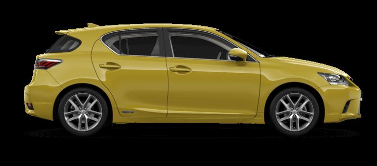 De zijkant van een Lexus CT 200h in Solar Yellow