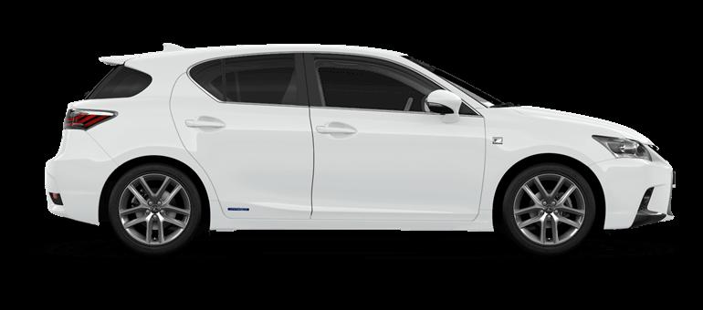 De zijkant van een Lexus CT 200h in F White