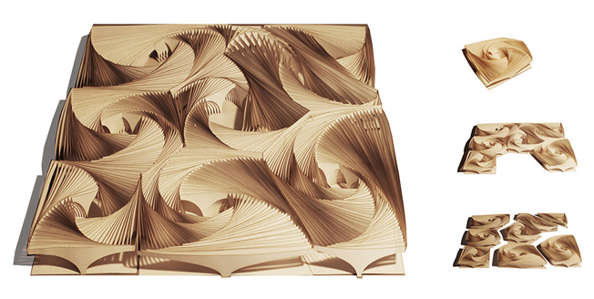Geometrisk form i trä modern design IAO Architecture Lexus Design Award