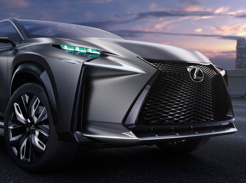 Lexus LF NX Concept avtomobilinin ön faraları və ön bamperi