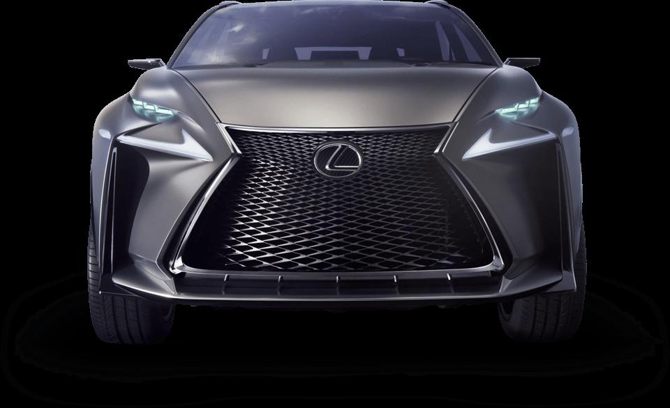 Вид спереди на концепт кар Lexus LF NX