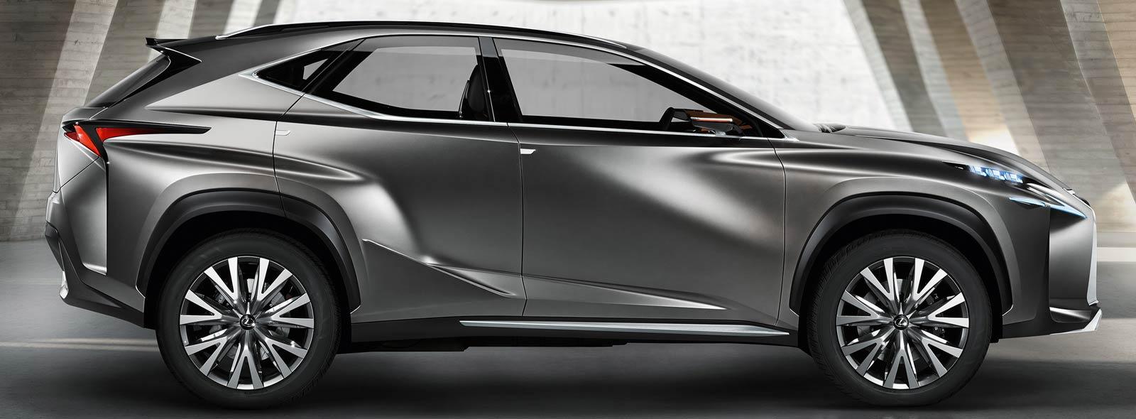 Вид сбоку на концепт кар Lexus LF NX