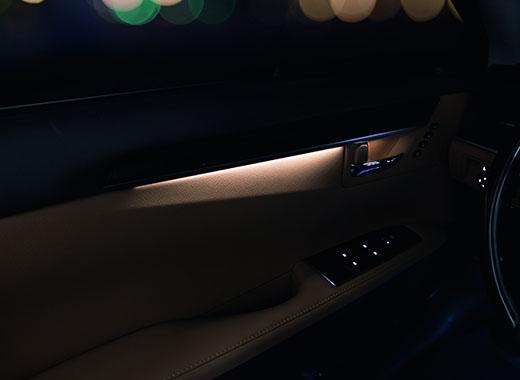 Вид внутренней дверной ручки Lexus ES 200 с подсветкой