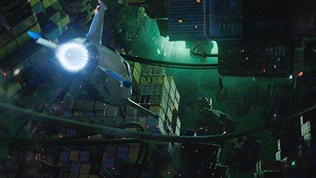 Vista trasera de la nave Skyjet de Valerian viajando por el espacio