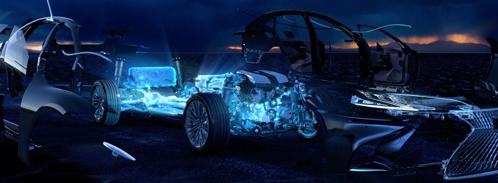 Video con imagen en detalle de la tecnología híbrida del Lexus LS 500h