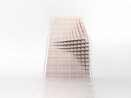 Componentes cúbicos que forman un mecanismo espacial diseñando una puerta