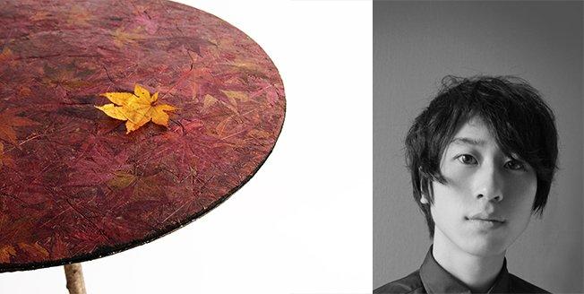 Producto como una mesa o un sobre diseñado usando hojas caídas