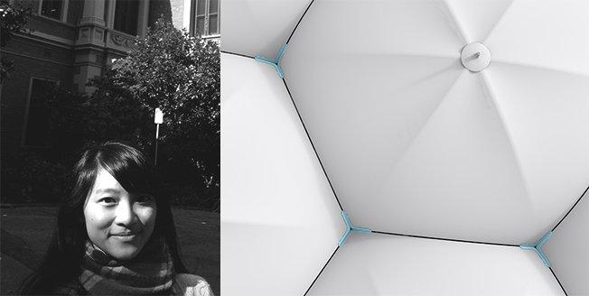 Sombrilla que se sirve de imanes conectados entre sí para promover las interacciones humanas