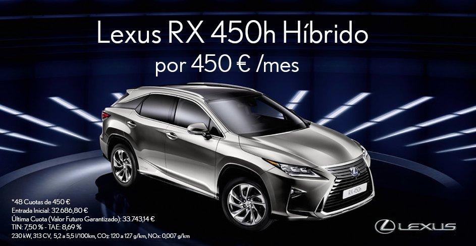 Vista tres cuartos frontal del Lexus RX 450h plata