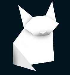 Gato blanco hecho en papiroflexia