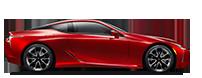 Vista lateral del nuevo Lexus LC 500 en color rojo