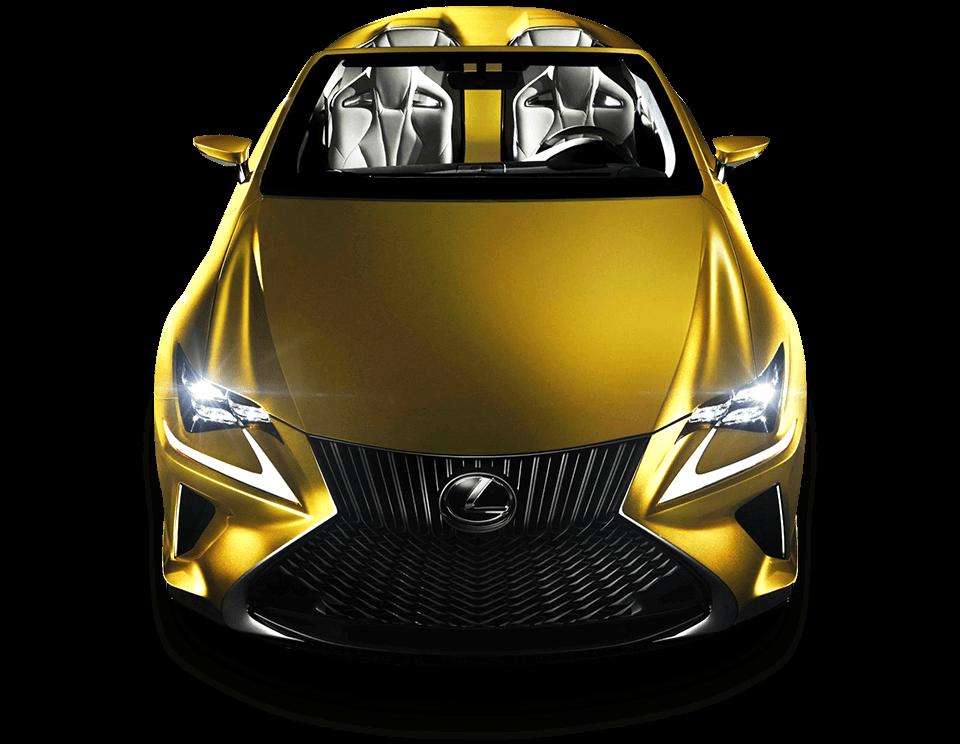 Vista frontal del LF C2 color amarillo con faros encendidos