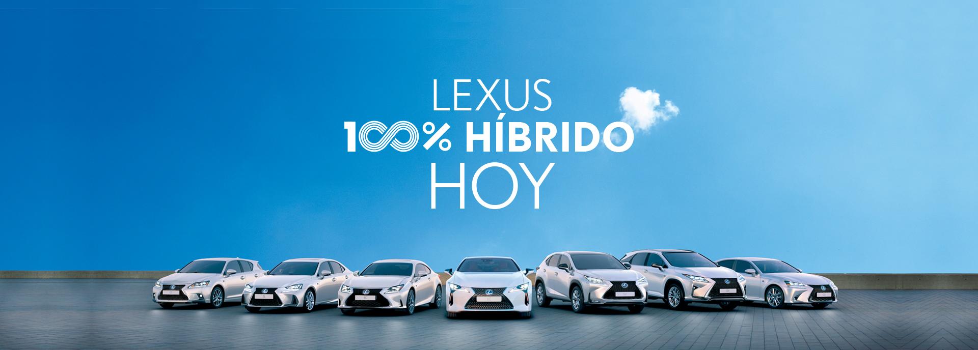 Vista general de la gama Lexus al completo junto al logo Lexus 100 Híbrido Hoy