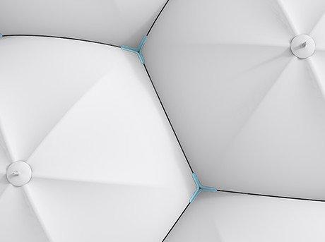 Figuras hexagonales blancas formando estructura