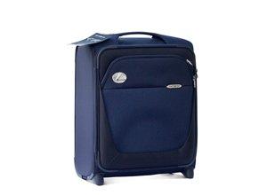 Vista frontal de maleta azul para cabina de avión con logo plata Lexus