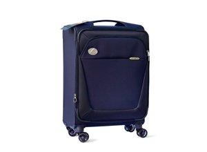 Vista frontal de maleta azul pequeña con logo plateado Lexus