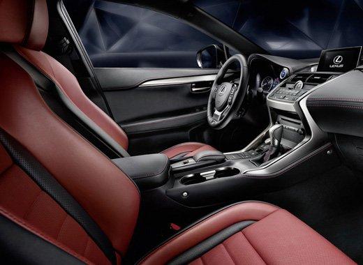 Vista lateral de tapicería roja interior de los modelos NX 300h