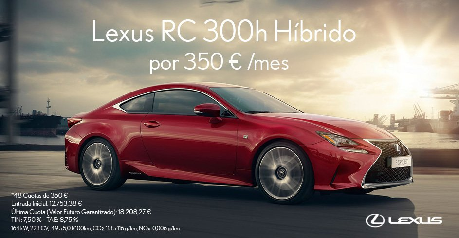 Vista lateral del RC 300h color rojo en puerto