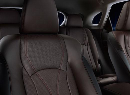 Vista interior de los asientos de piel del RX