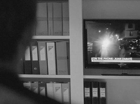 Vista detalle de plano televisión de cinta el viaje
