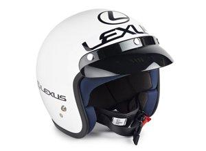 Vista detalle de casco de competición blanco marca Sparco