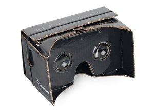 Vista detalle de gafas 3d para móvil construidas en cartón