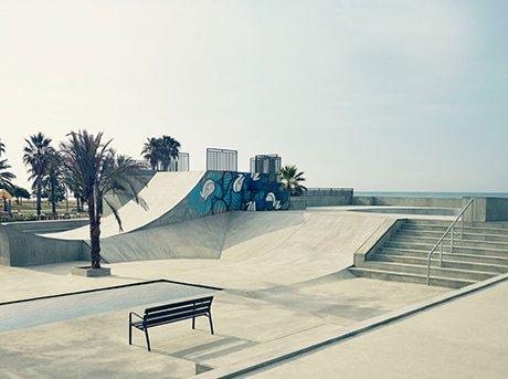 Vista general del parque de skate donde se probo el aeropatín