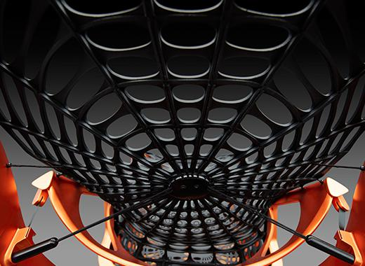 La tapicería del armazón del asiento se compone de una red en forma de telaraña