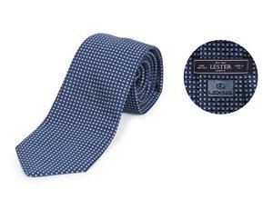 Vista detalle de corbata Lester azul oscura con puntos celestes
