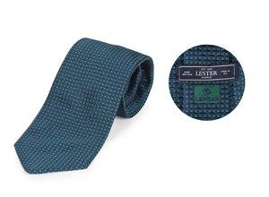 Vista detalle de la corbata azul oscura con puntos verdes de Lexus