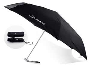 Vista del paraguas lexus en negro abierto y cerrado
