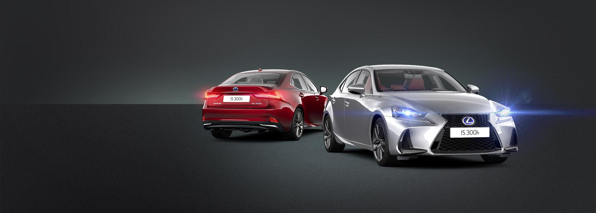 punainen ja harmaa Lexus IS 300h Hybrid