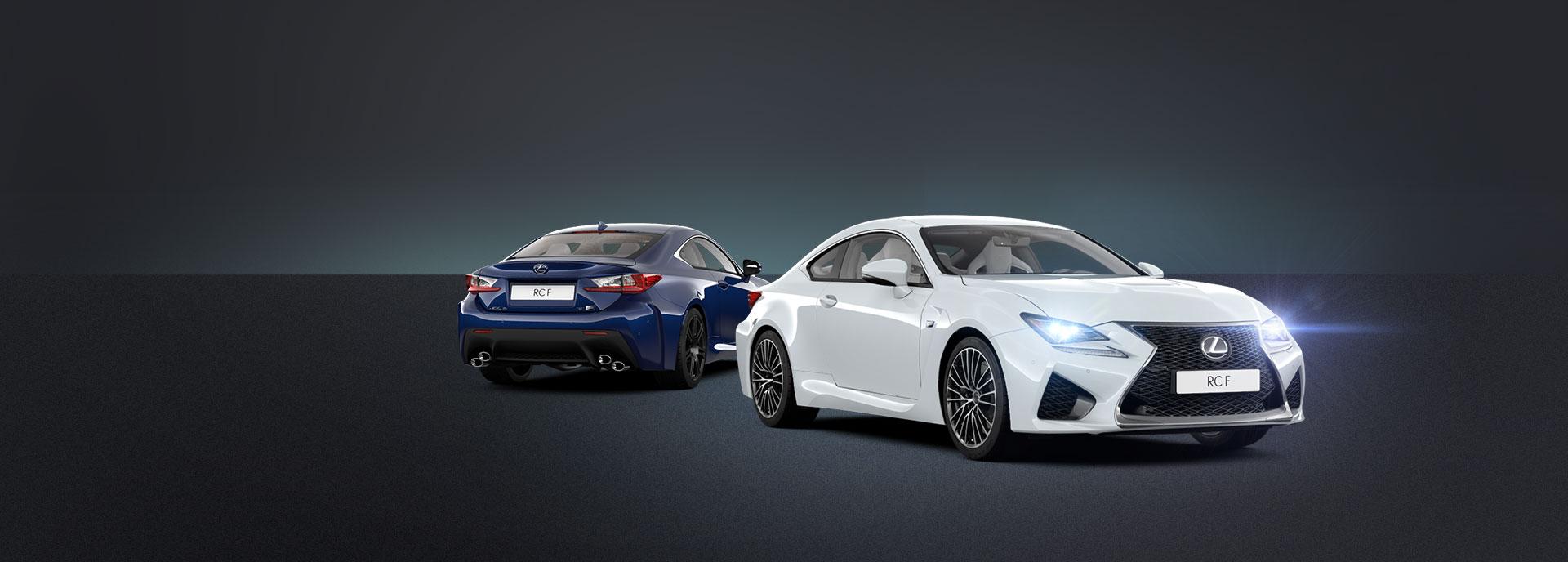 sininen ja valkoinen Lexus RC F