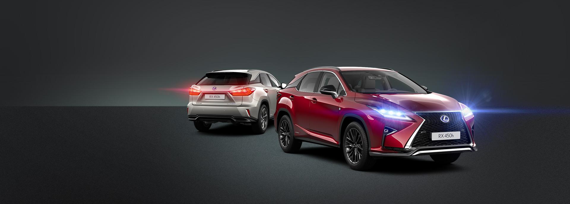 harmaa ja punainen Lexus RX 450h Hybrid