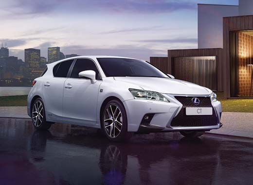 White Lexus CT 200h Hybrid Car