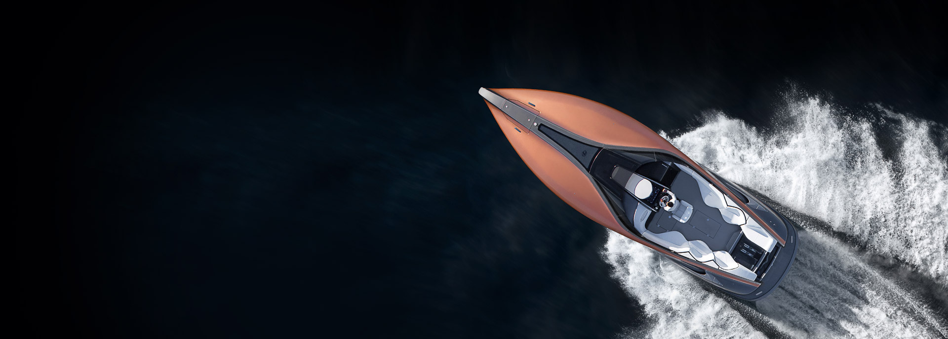 Il Concept Lexus Sports Yacht visto dall alto mentre naviga nel mare