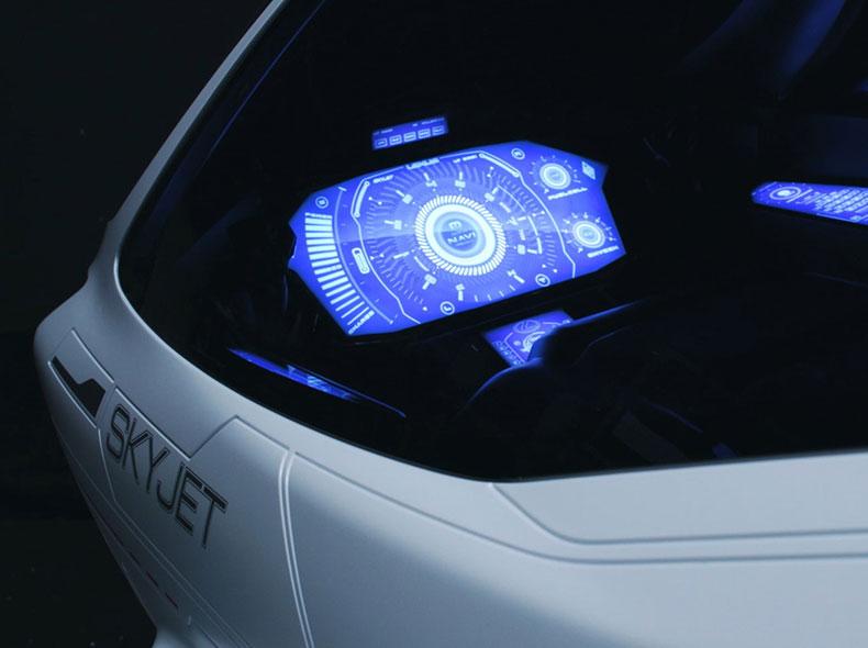 Dettaglio della plancia comandi dello SkyJet con display futuristico attivo