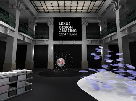"""Rendering 3D dello spazio espositivo che ha ospitato l'evento """"Lexus Design Amazing 2014"""""""