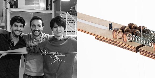 Collage tre designer a sinistra A destra dettaglio di sostegni con molle metalliche